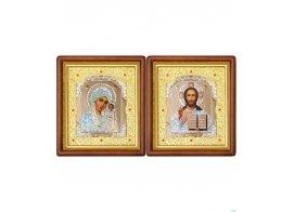 Икона в деревянном окладе со стразами